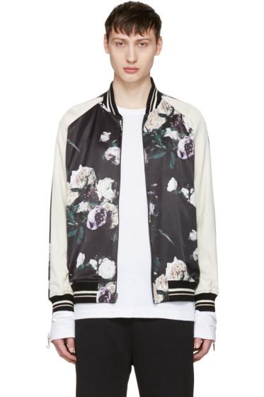 Lad Musician - Reversible Multicolor Floral Satin Bomber Jacket