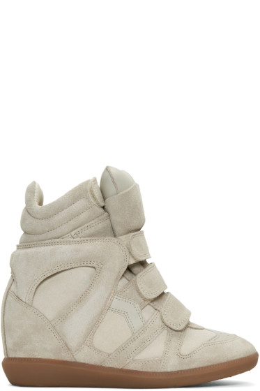 Isabel Marant - Ecru Suede Beckett Wedge Sneakers