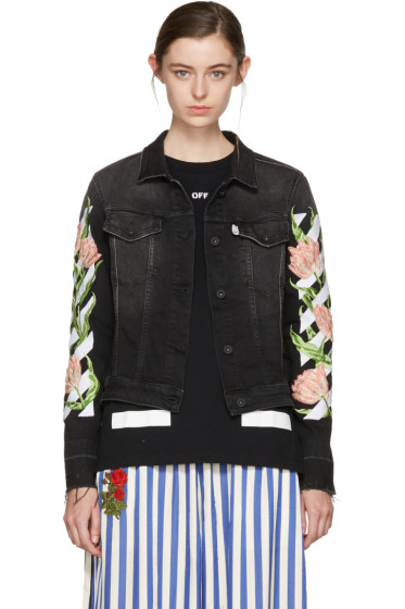 Off-White - Black Denim Diagonal Tulips Slim Jacket