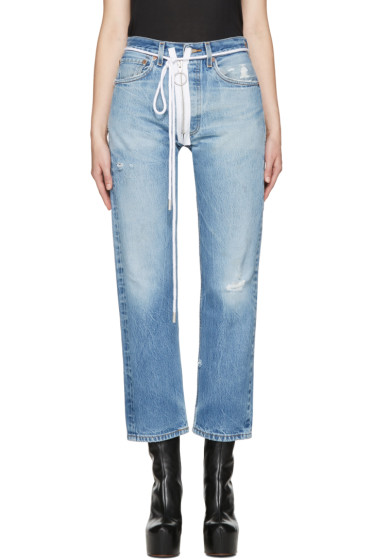 Off-White - Blue Levi's Edition Zipped Jeans