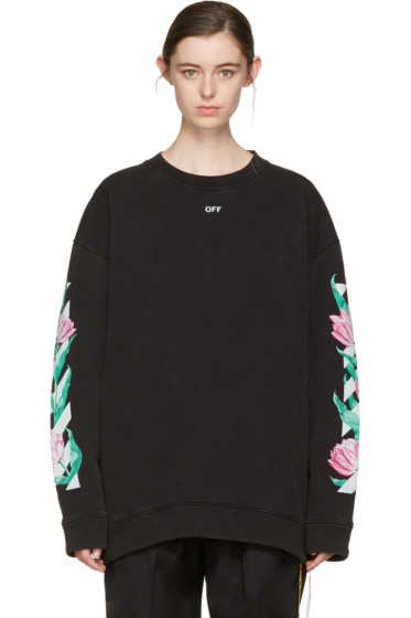 Off-White - Black Diagonal Tulips Pullover
