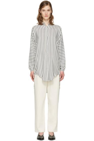 Studio Nicholson - White Striped Silk Teddy Shirt