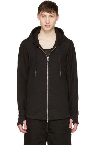 11 by Boris Bidjan Saberi - Black Drawstring Zip Hoodie