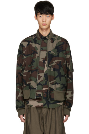 Johnlawrencesullivan - Khaki Camo Bomber Jacket