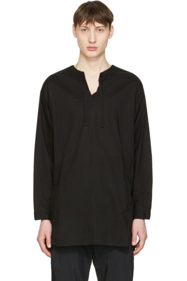 Undecorated Man - ブラック ドローストリング カラー シャツ