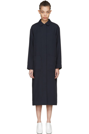 Nomia - Navy Slit Back Duster Coat