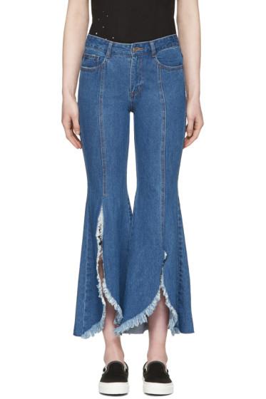 SJYP - Blue Front Cut-Off Jeans