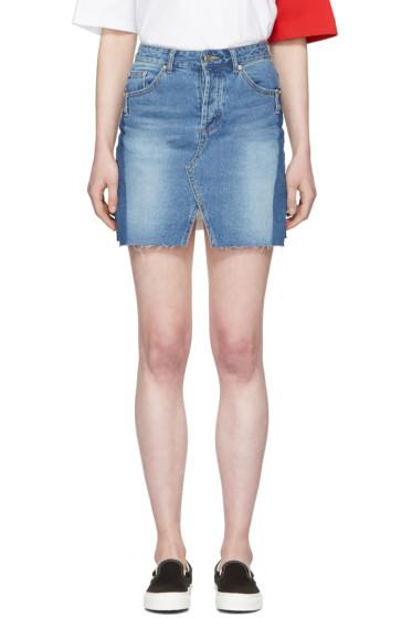 SJYP - Blue Denim Cut-Off Miniskirt