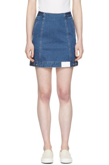 SJYP - ブルー デニム ボタン ミニスカート