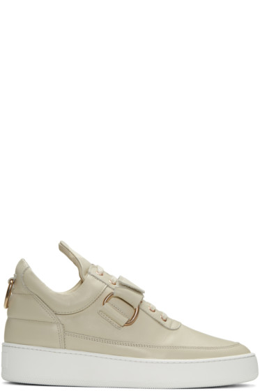 Filling Pieces - Beige Clasp Low Sneakers