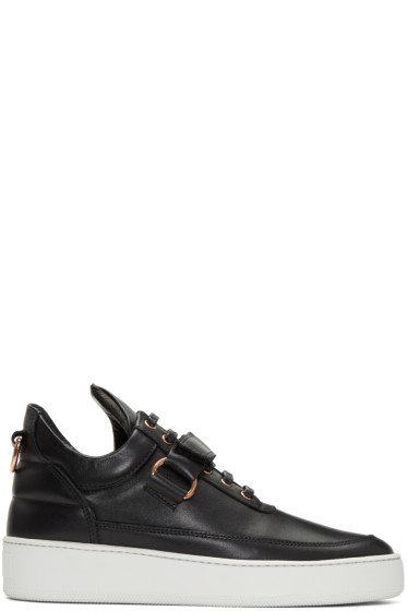 Filling Pieces - Black Clasp Low Sneakers