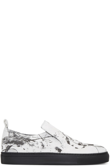 AD Ann Demeulemeester - White Suede Splatter Slip-On Sneakers