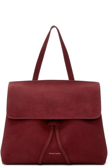 Mansur Gavriel - Burgundy Suede Mini Lady Bag