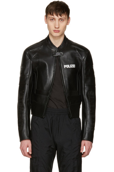 Vetements - Black Leather Racing Jacket