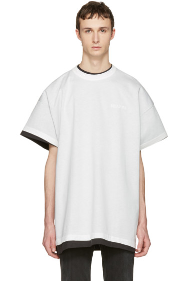 Vetements - White Hanes Edition Oversized Double 'Securite' T-Shirt