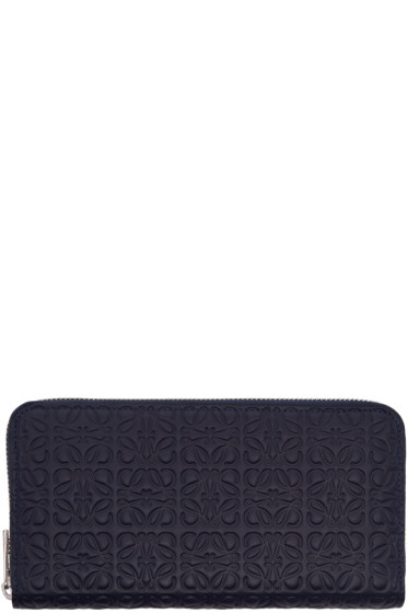 Loewe - Navy Zip Around Anagram Wallet