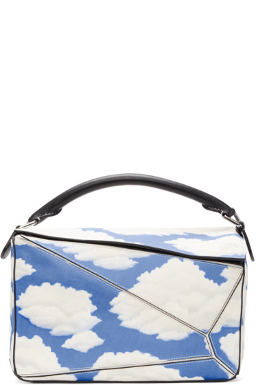 Loewe - Black & Blue Handpainted Clouds Puzzle Bag