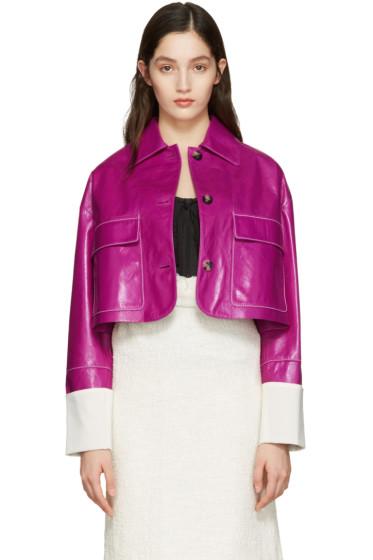 Loewe - Pink Lambskin Cropped Jacket