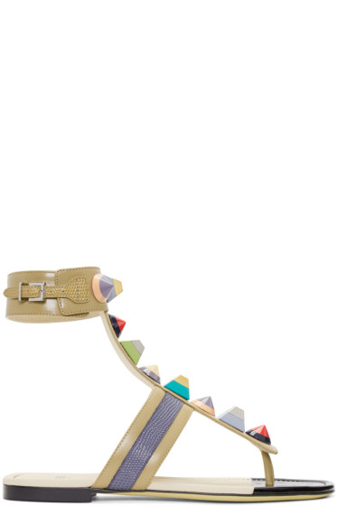 Fendi - Taupe Rainbow Thong Sandals