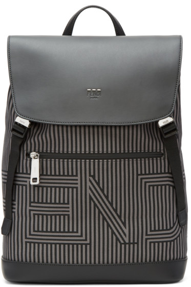 Fendi - Black & Grey Striped Logo Backpack