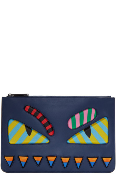 Fendi - Blue & Multicolor 'Bag Bugs' Pouch