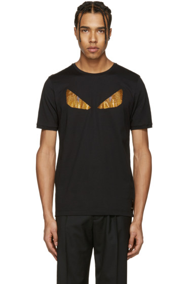 Fendi - Black Crystal 'Bag Bug' T-Shirt