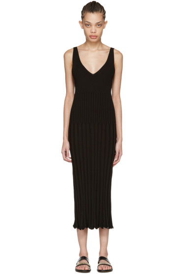 Rosetta Getty - Black Ribbed Camisole Dress