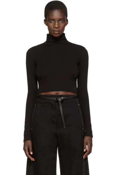 Rosetta Getty - Black Cropped Turtleneck