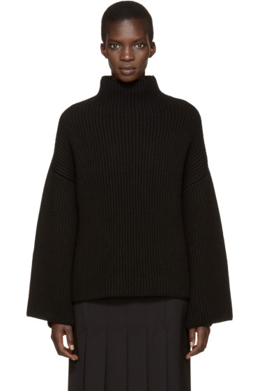 Rosetta Getty - Black Cropped Back Turtleneck