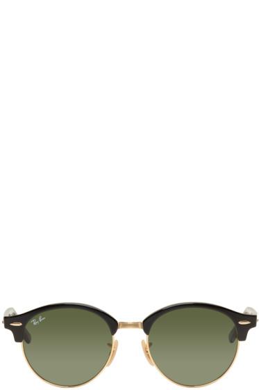 Ray-Ban - Black & Gold Clubround Sunglasses