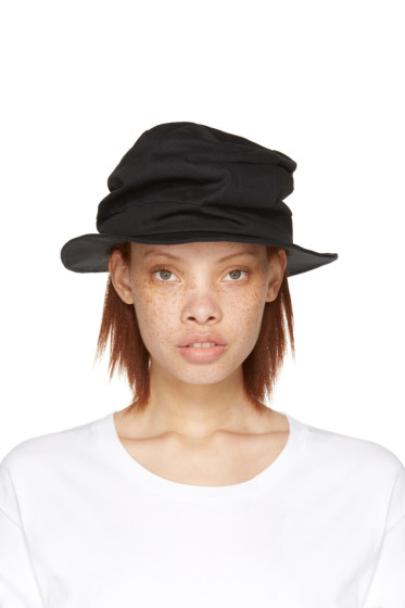 Y's - Black Denim Tuck Hat
