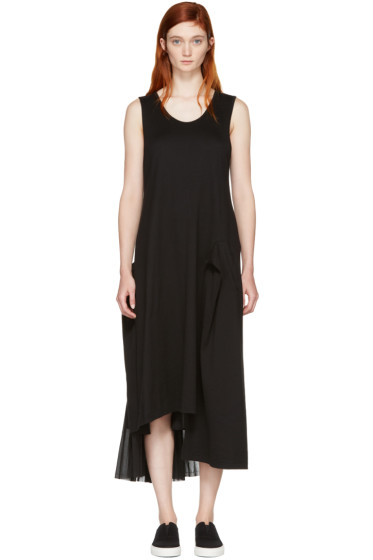 Y's - Black Contrast Pleat Dress
