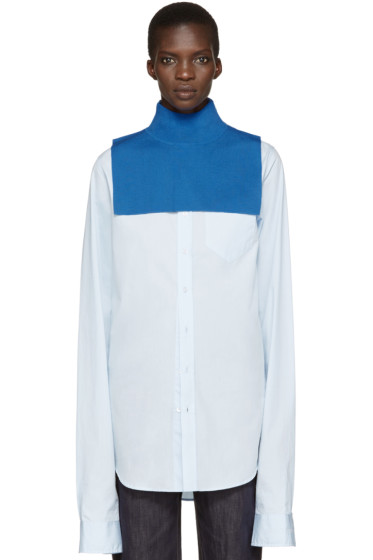 Enfold - Blue Wool Turtleneck Collar