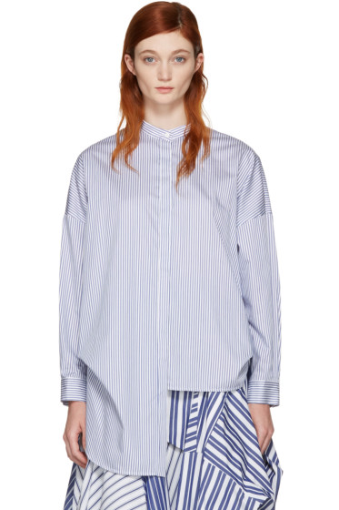 Enfold - White & Navy Cropped Back Shirt