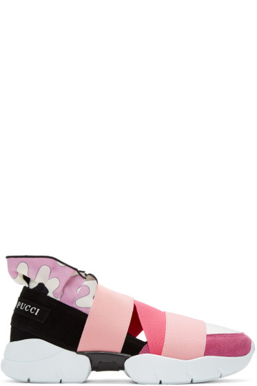 Emilio Pucci - Pink Colorblock Slip-On Sneakers
