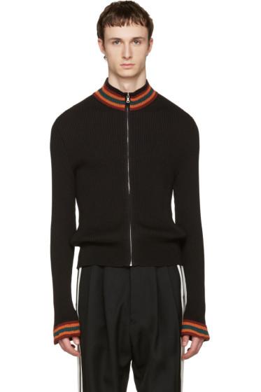 Wales Bonner - Black Palms Zip-Up Sweater