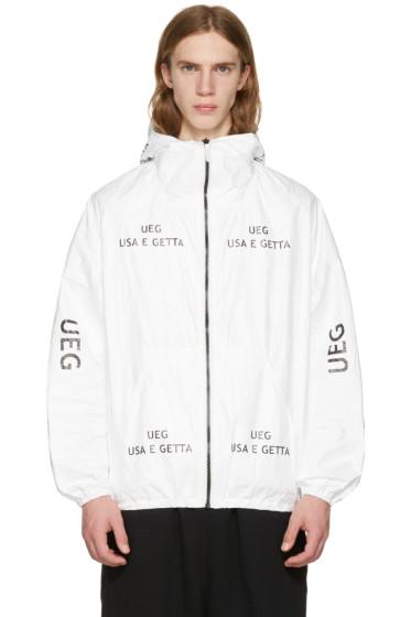 UEG - ホワイト Tyvek® ロゴ フード ジャケット