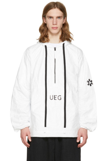 UEG - ホワイト Tyvek® フード プルオーバー ジャケット