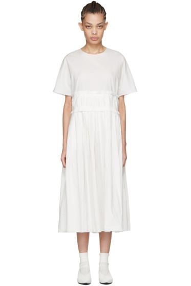 Sara Lanzi - Off-White Pleated Poplin Dress
