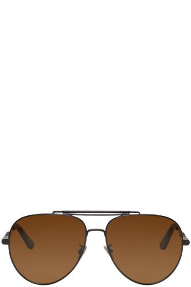 Bottega Veneta - Black Teardrop Aviator Sunglasses