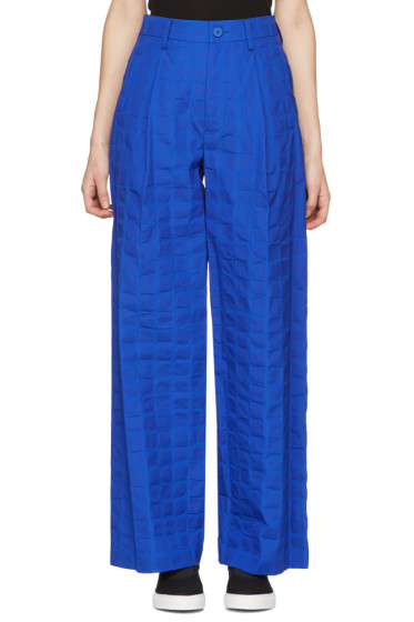 Issey Miyake - Blue Crumpled Grid Trousers
