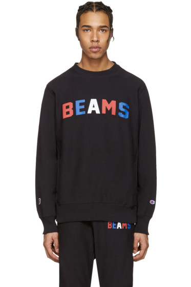 Champion x Beams - Black Logo Pullover