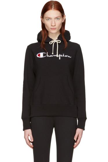 Champion Reverse Weave - Black Logo Hoodie