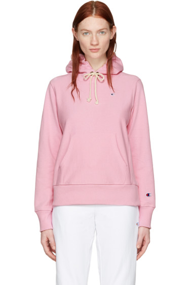 Champion Reverse Weave - Pink Logo Patch Hoodie