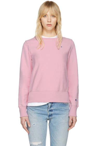 Champion Reverse Weave - Pink Logo Patch Pullover