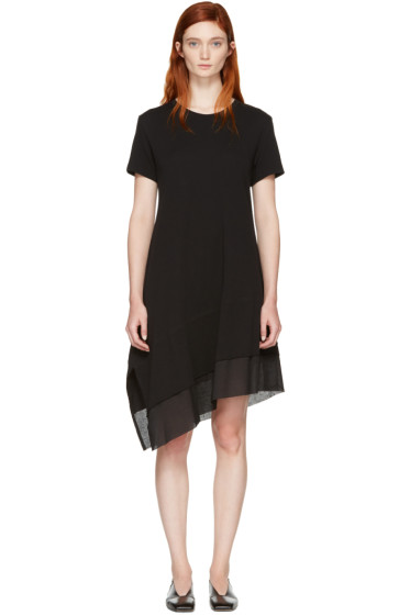 Nocturne #22 - Black Asymmetric T-Shirt Dress
