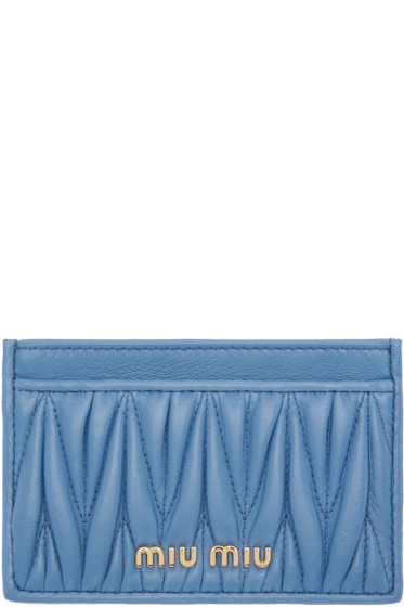 Miu Miu - Blue Matelassé Card Holder