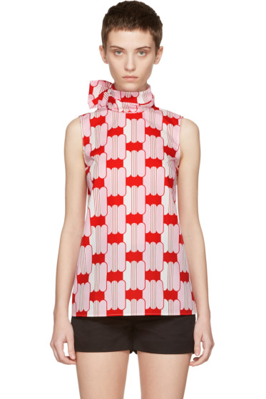Miu Miu - Red Poplin Candy Tank Top