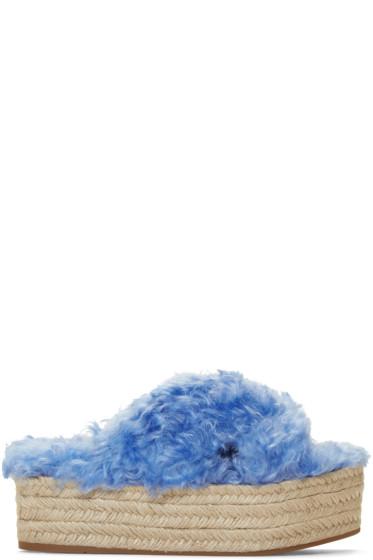 Miu Miu - Blue Eco Fur Cross Sandals
