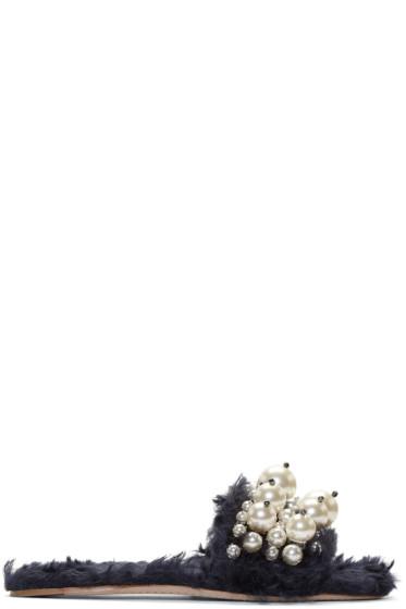 Miu Miu - Navy Eco Fur Pearl Slide Sandals